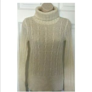 J. Crew Cable Knit Ivory Turtleneck Sweater XS